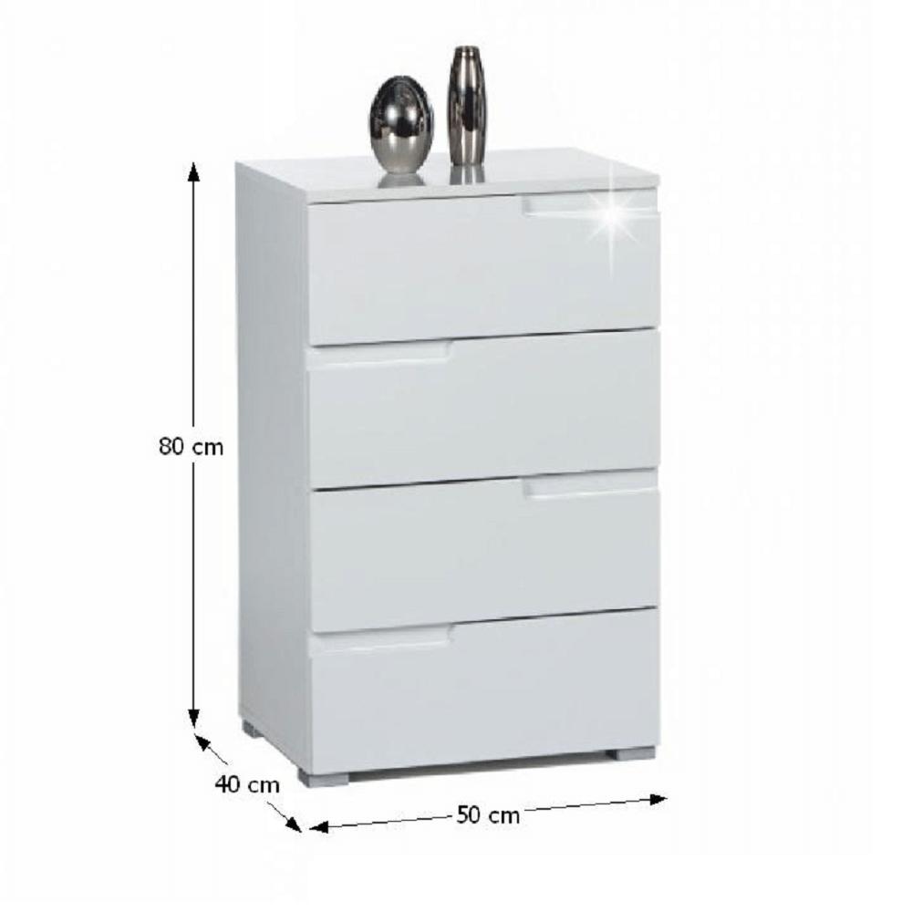 4-šuplíková komoda, bílá extra vysoký lesk, SPICE 4, TEMPO KONDELA