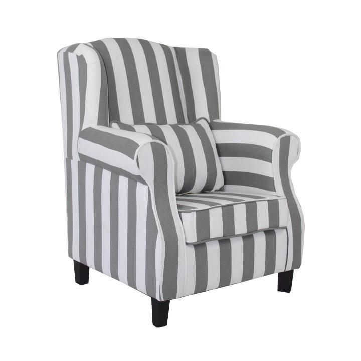 Fotel, csíkos szövet + fehér, MELA