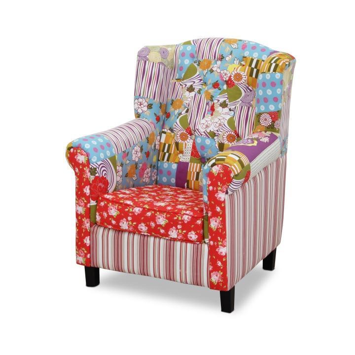 Modern fotel, mintás textil, DENY 2 típus