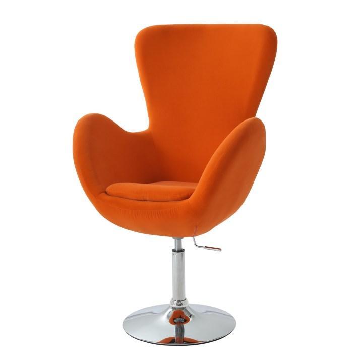 Relaxačné kreslo,látka oranžová/chróm, OLLI NEW