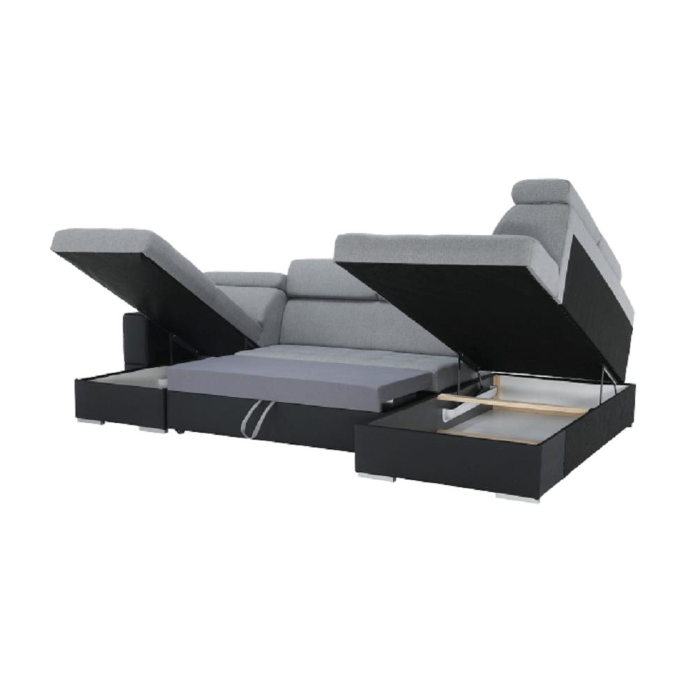 Rozkládací sedací souprava, černá ekokůže / látka světle šedá, levá, VASTO