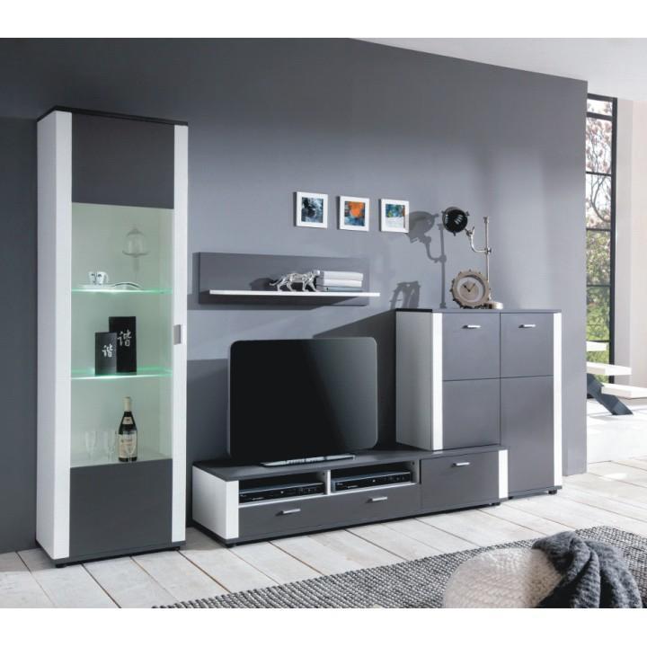 Obývacia stena, sivá / biela, MAXO OS