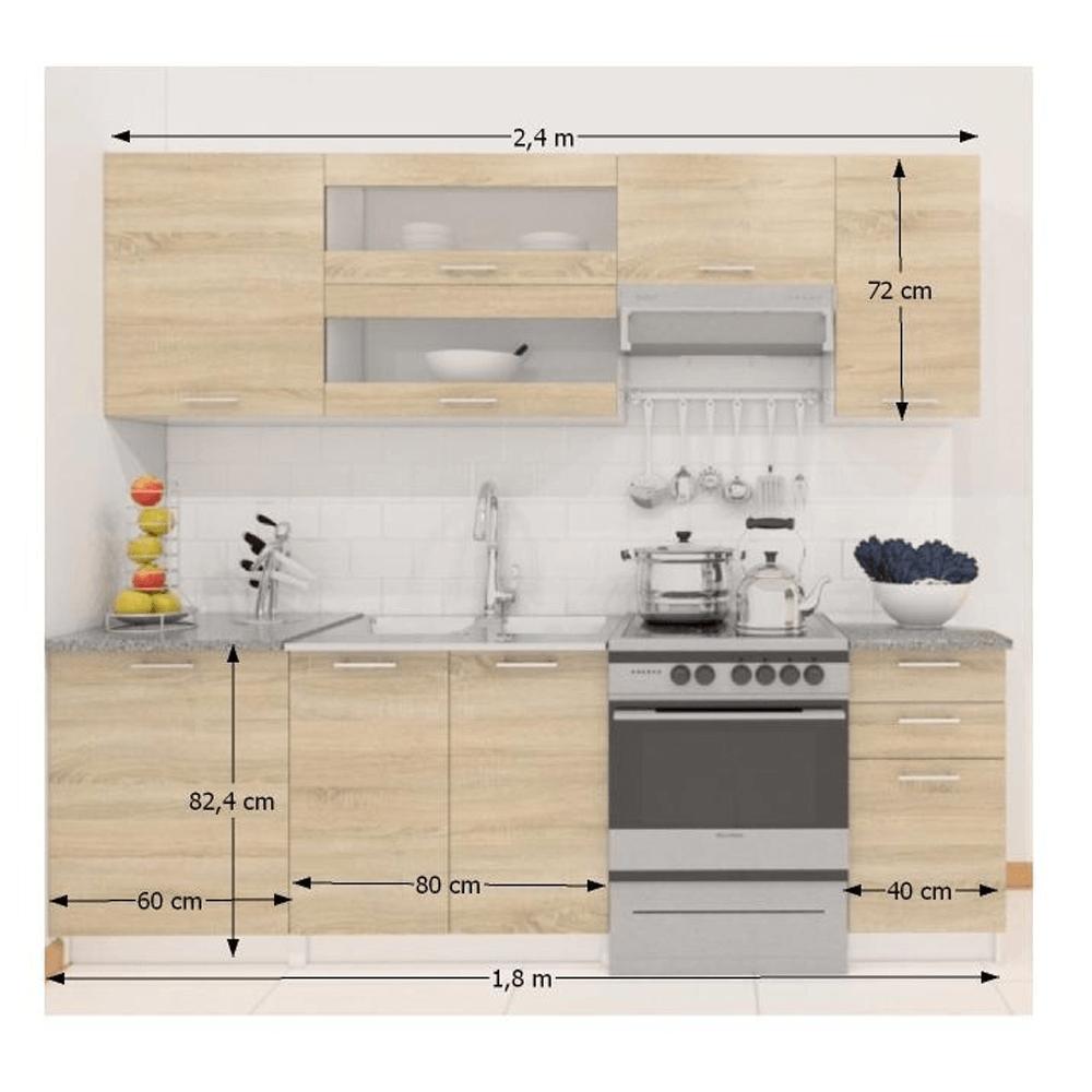 Kuchyňská linka 2, 4m, dub sonoma / bílá, FABIANA, TEMPO KONDELA