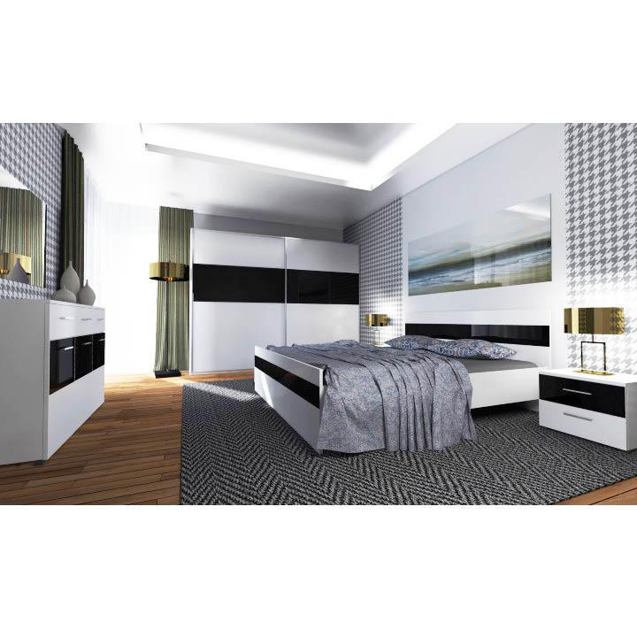 Spálňa, biela/čierne sklo s leskom, DEVON