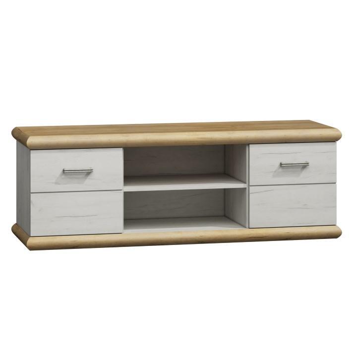 TV asztal/szekrény, fehér tölgyfa/arany tölgyfa, KATY K - 11