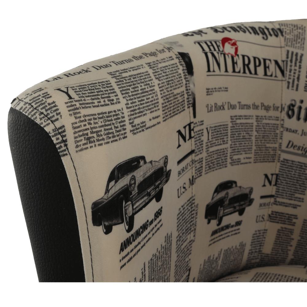 Klubové křeslo, ekokůže černá / látka vzor novin, CUBA