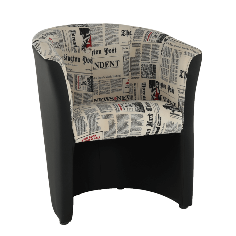 Fotoliu de club, piele ecologică neagră/material textil motiv ziare, CUBA