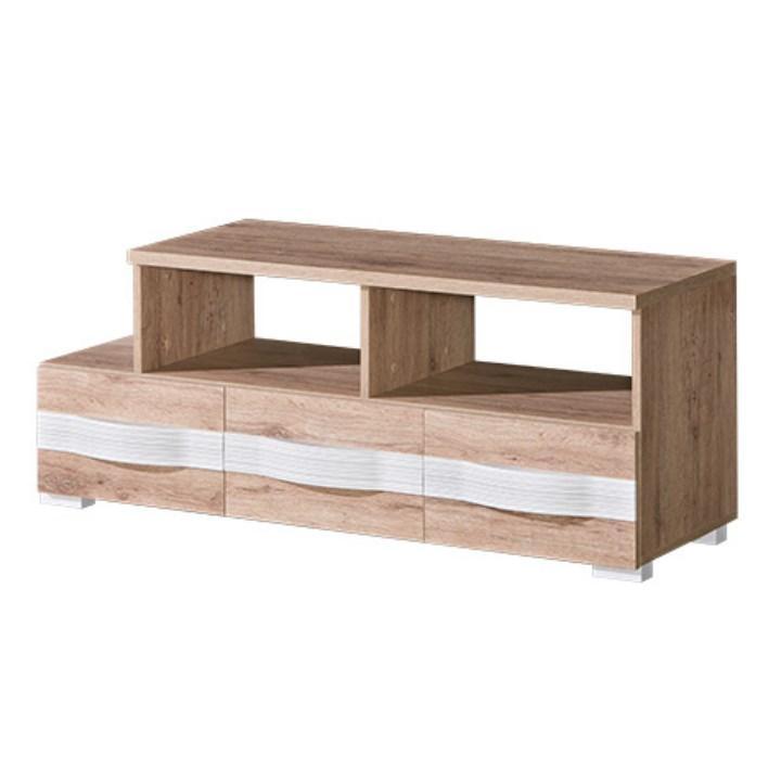 RTV stôl s policou, san reno / biela, ROVIN R - 09