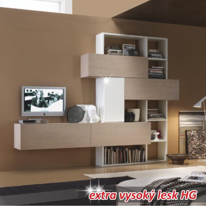 Obývacia stena, dub sonoma / biela extra vysoký lesk HG, AROLA OS