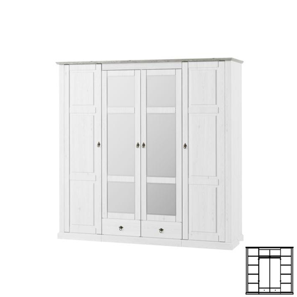 Kombinovaná skříň, bílá, LIONA  LM 74, TEMPO KONDELA
