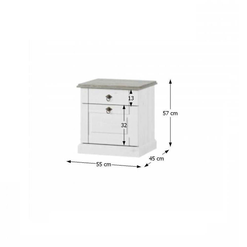 Noční stolek, bílá, LIONA LM 21, TEMPO KONDELA