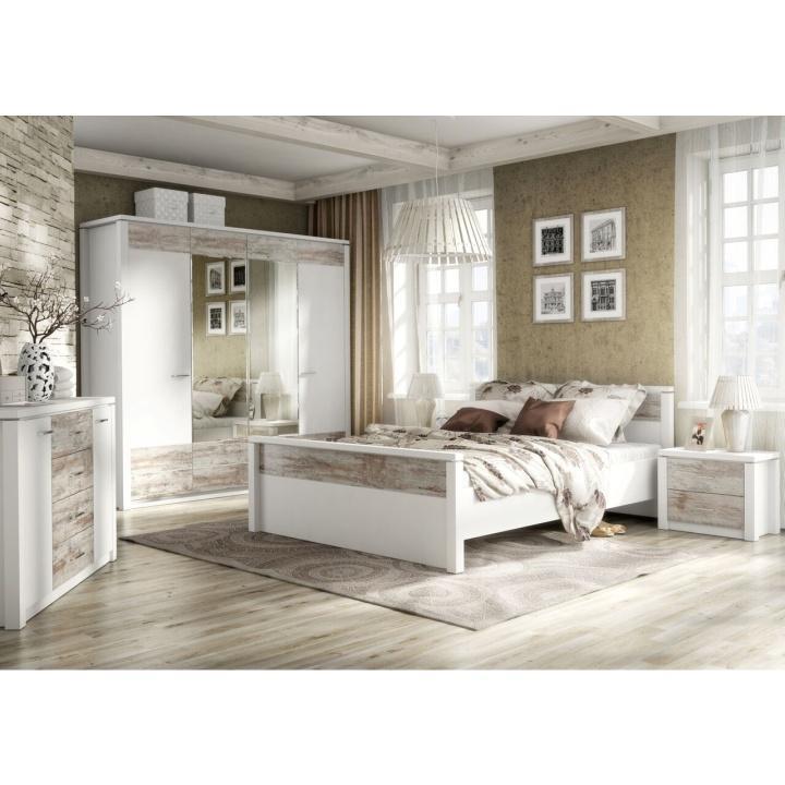 Posteľ, 160x200, skrina so zrkadlom, nočný stolík, dub canyon/biela, CORADO komplet