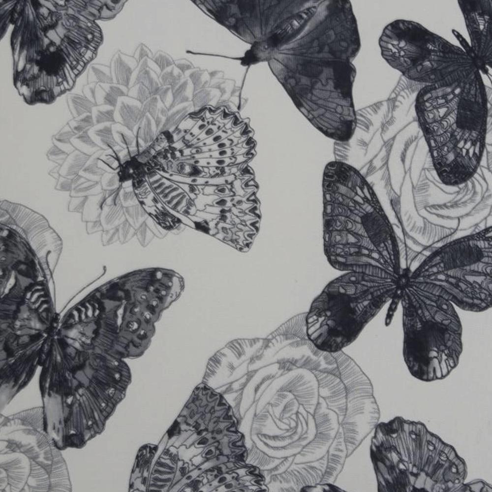 Křeslo ušák s taburetem, látka butterfly 1 šedá s bílou/bílá, ASTRID