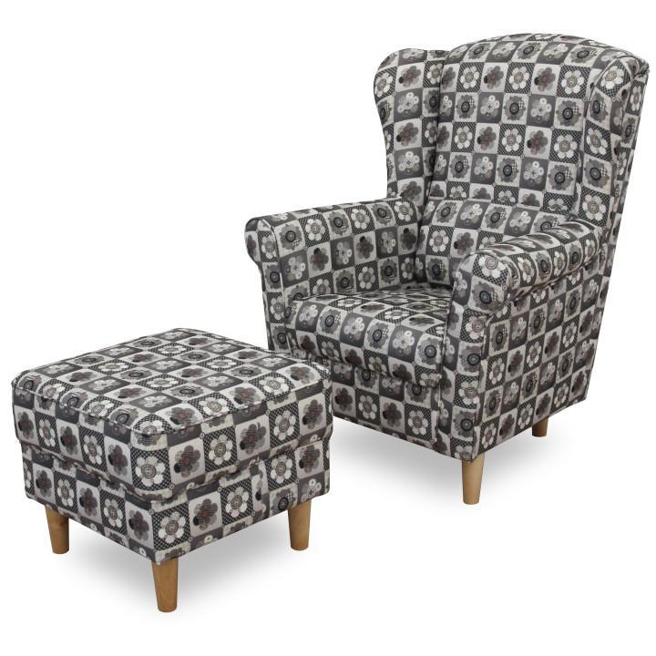 Fotel + puff,patchwork N1, ASTRID
