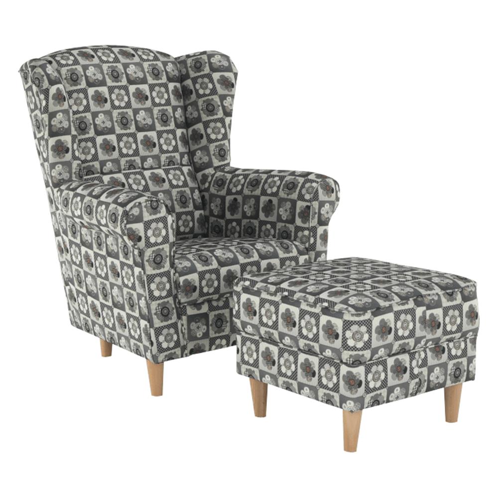 Fotoliu cu taburet, material textil în stilul patchwork N1, ASTRID