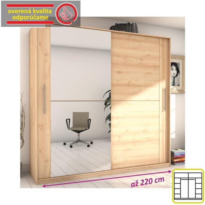 Skriňa dvojdverová kombinovaná so zrkadlom, šírka: 220 cm, buk iconic, ROMBO CO-32