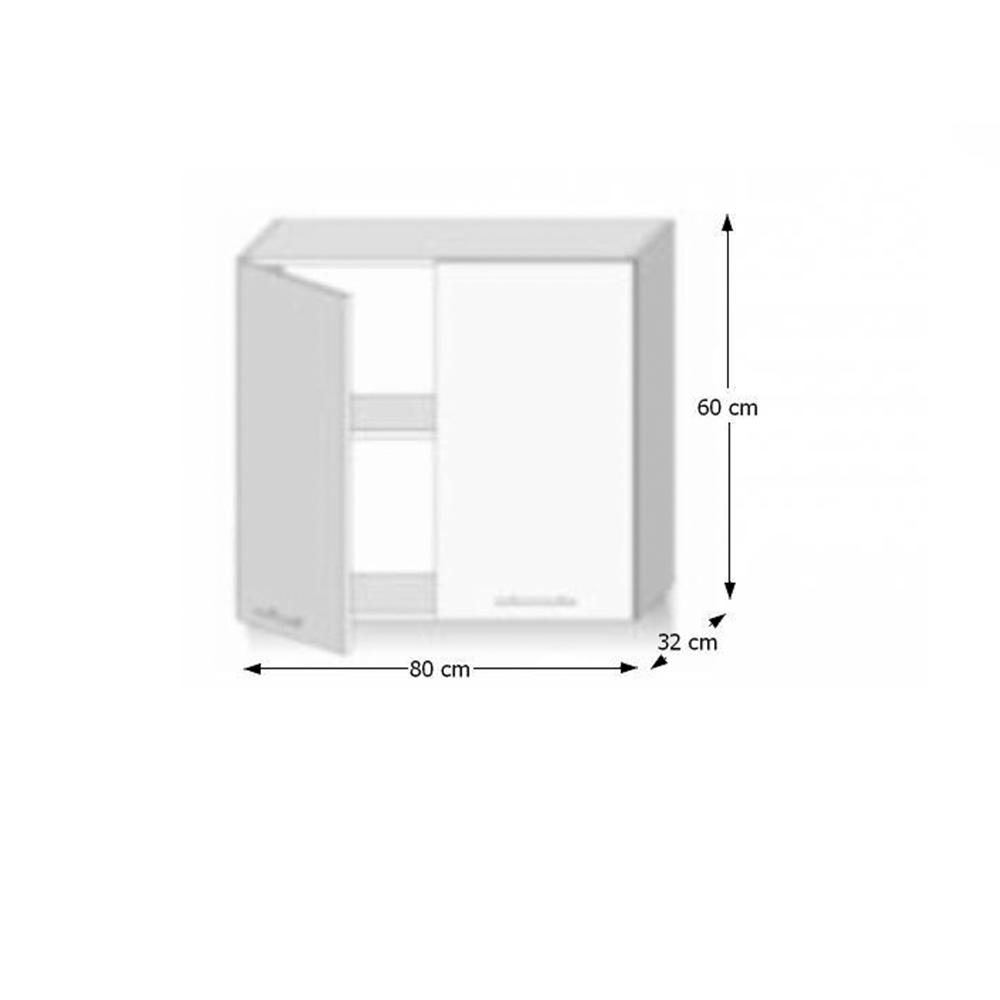 Felsőszekrény,G80, fehér magas fényű HG, LINE BIELA G80