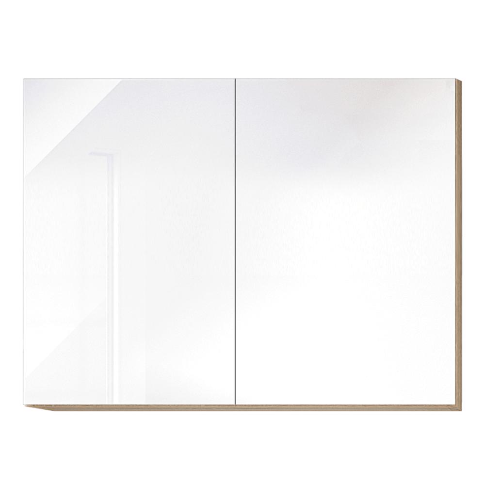 Horní skříňka G 80, vysoký bílý lesk/dub sonoma, LINE, TEMPO KONDELA