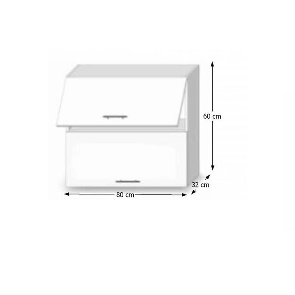 Felsőszekrény, fehér magas fényű HG, LINE BIELA G80