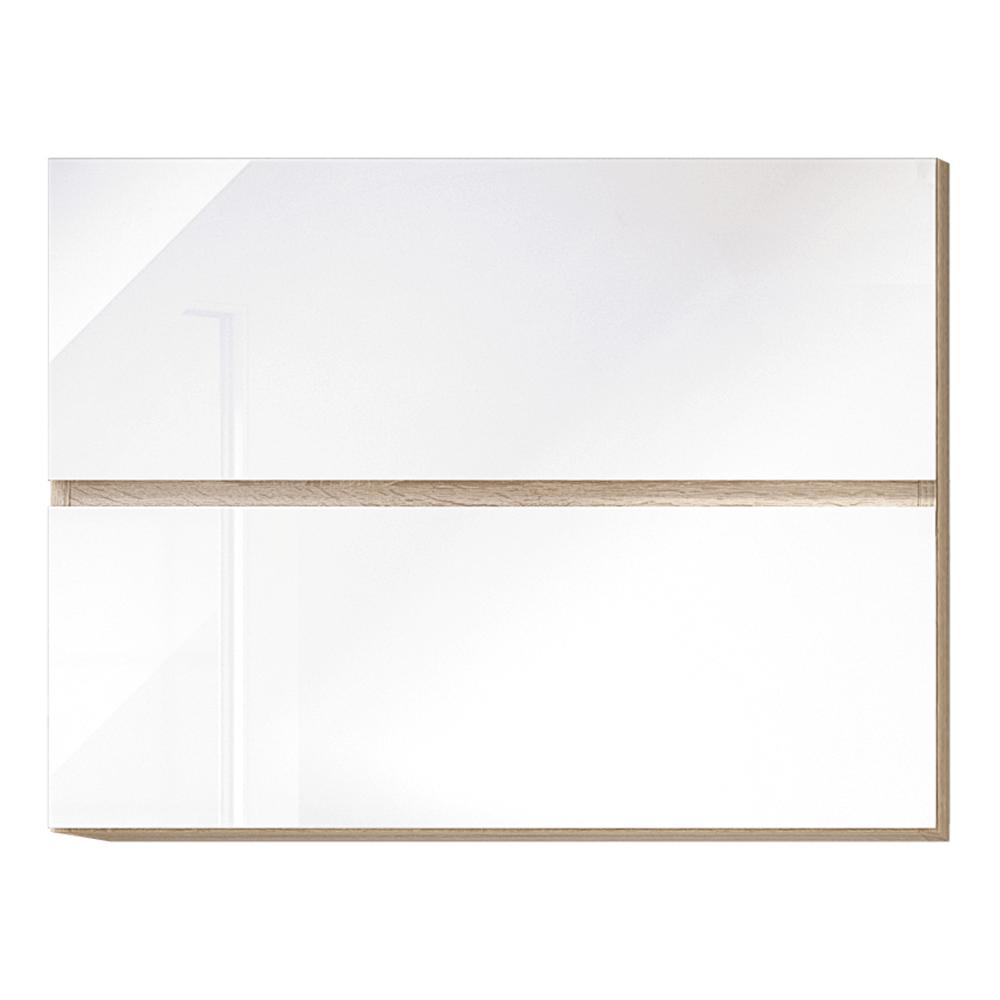 Dulap superior cu 2 uși orizontale, alb super luciu HG, LINE ALB G80