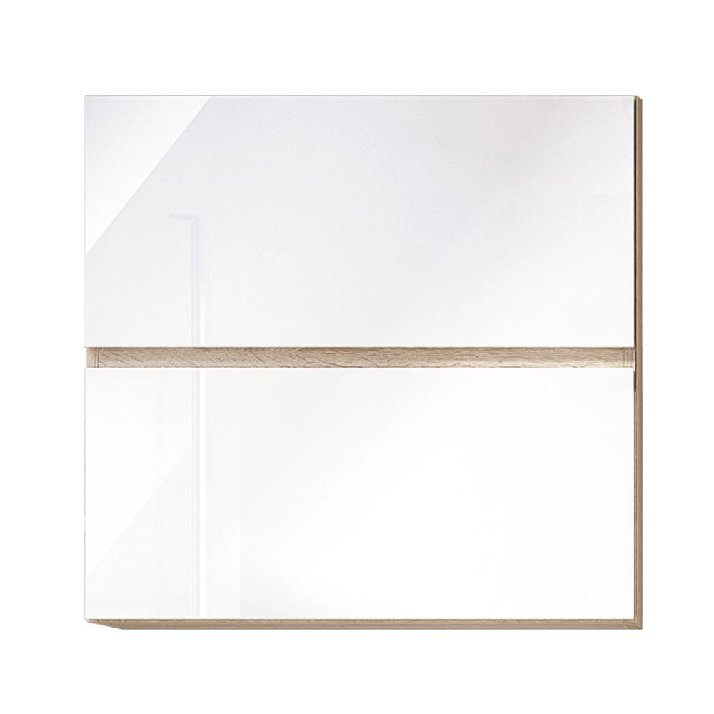 Dulap superior cu 2 uși orizontale, alb super luciu HG, LINE ALB G60