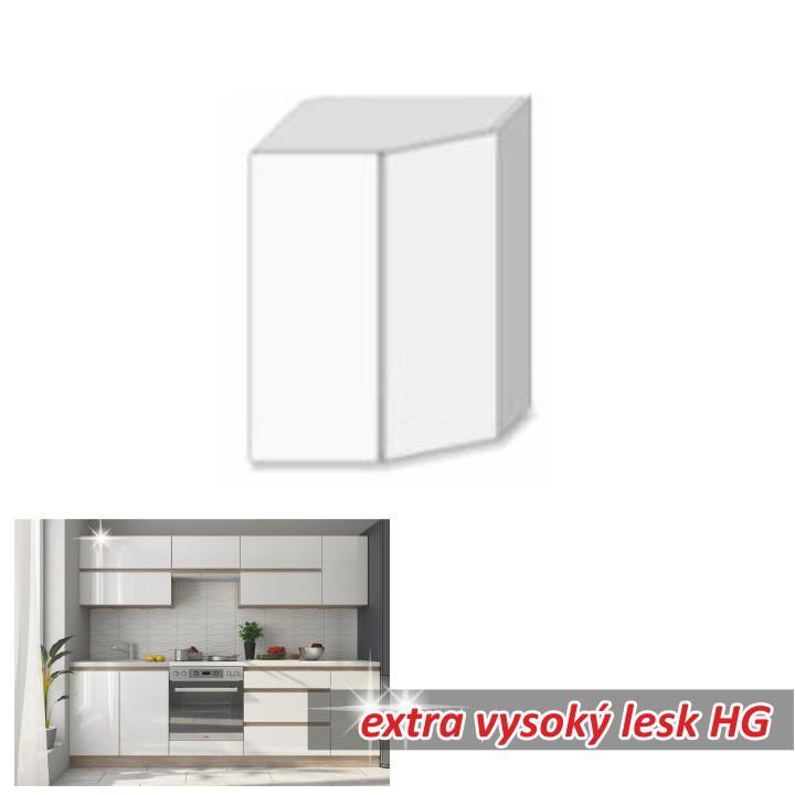 Felső sarok szekrény,magas fényű fehér, LINE WHITE