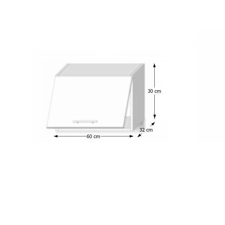 Felső szekrény 1-ajtós,extra magas fényű fehér, LINE WHITE