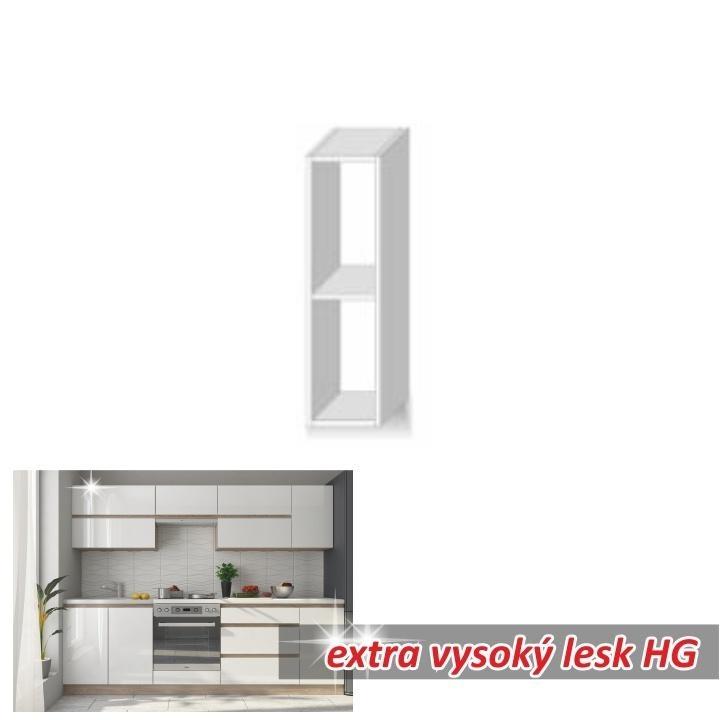 Felső szekrény polccal,magas fényű fehér, LINE WHITE