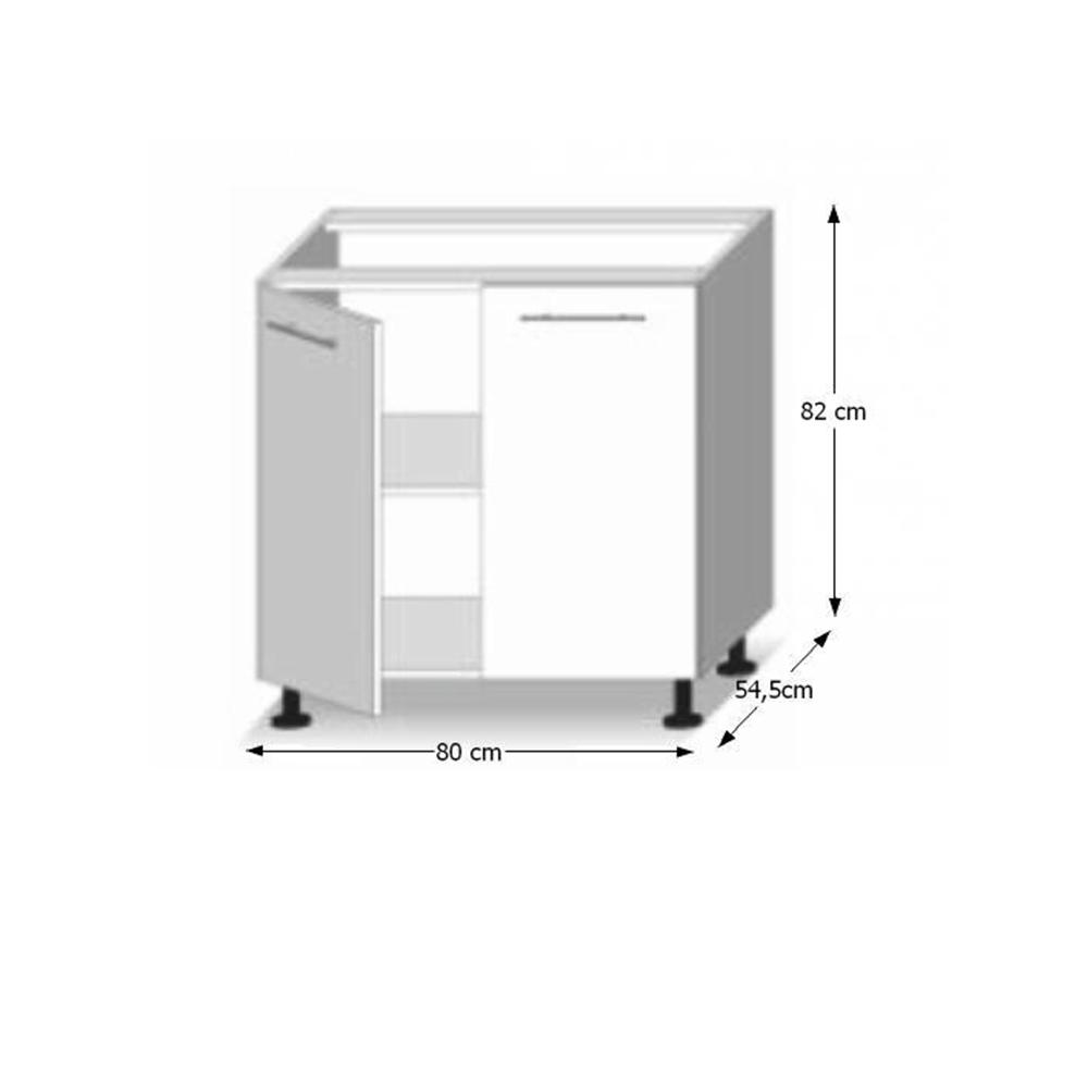 Dolní skříňka D 80, vysoký bílý lesk/dub sonoma, LINE, TEMPO KONDELA