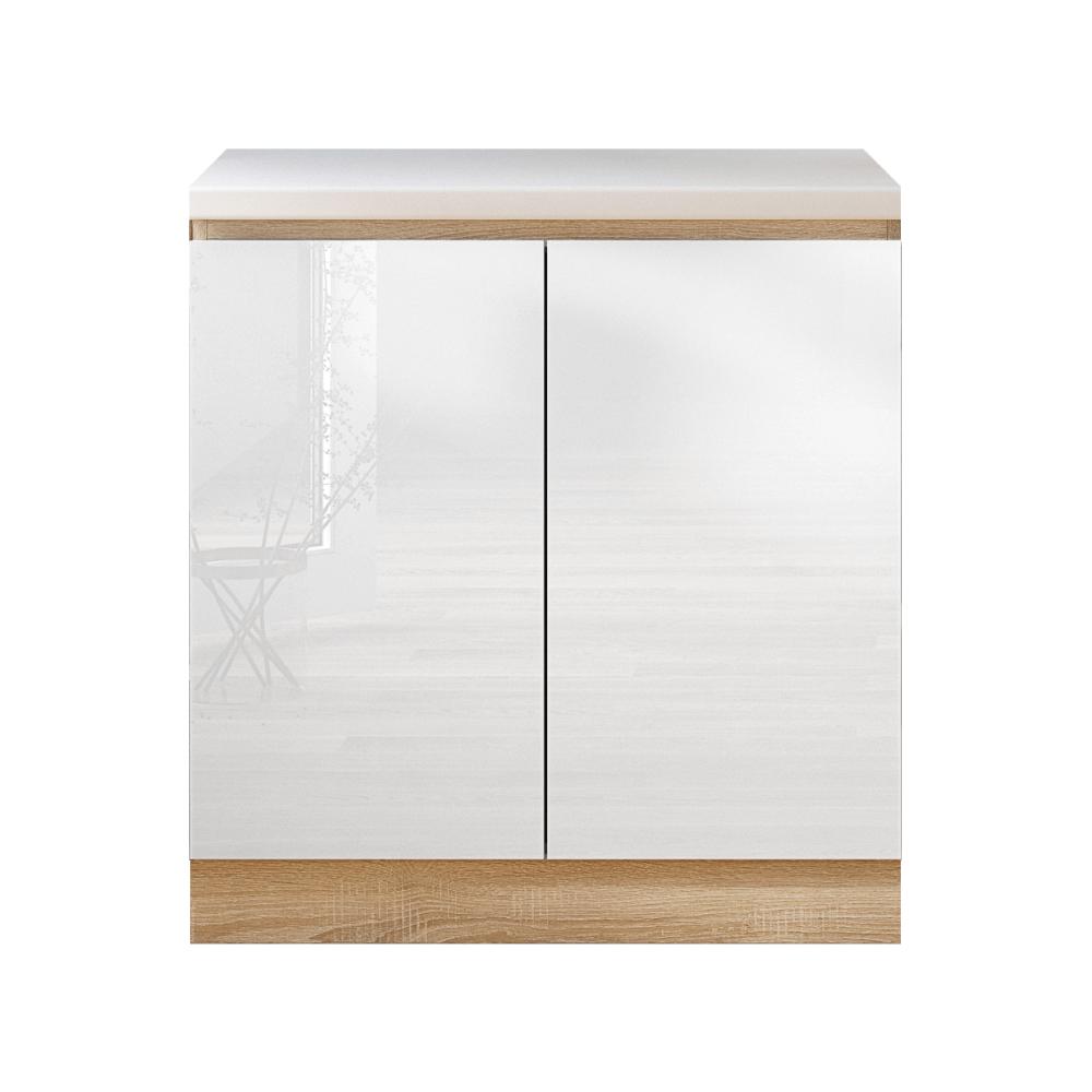 Dolná skrinka D 80, vysoký biely lesk/dub sonoma, LINE