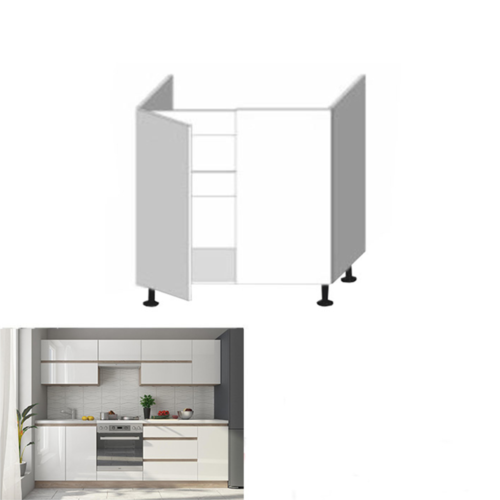 Dolní skříňka D 80 ZL, vysoký bílý lesk/dub sonoma, LINE, TEMPO KONDELA