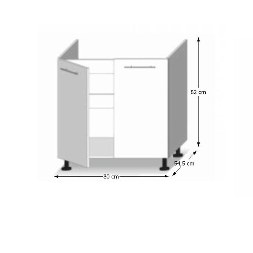 Alsószekrény, fehér magas fényű HG, LINE BIELA