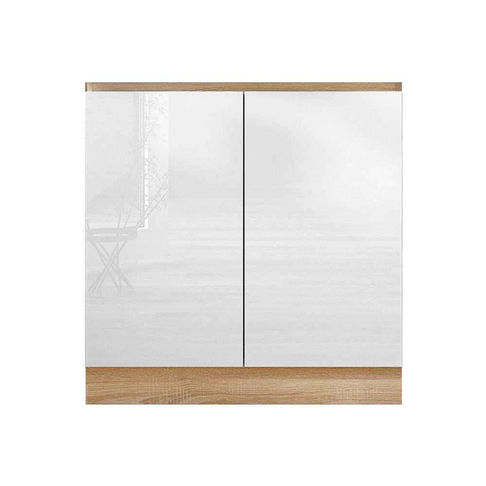 Dolná skrinka D 80 ZL, vysoký biely lesk/dub sonoma, LINE