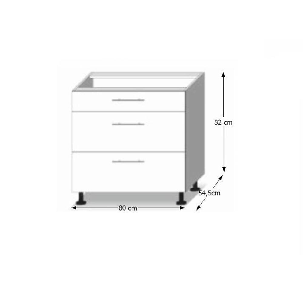 Dolní skříňka D 80 3, vysoký bílý lesk/dub sonoma, LINE, TEMPO KONDELA