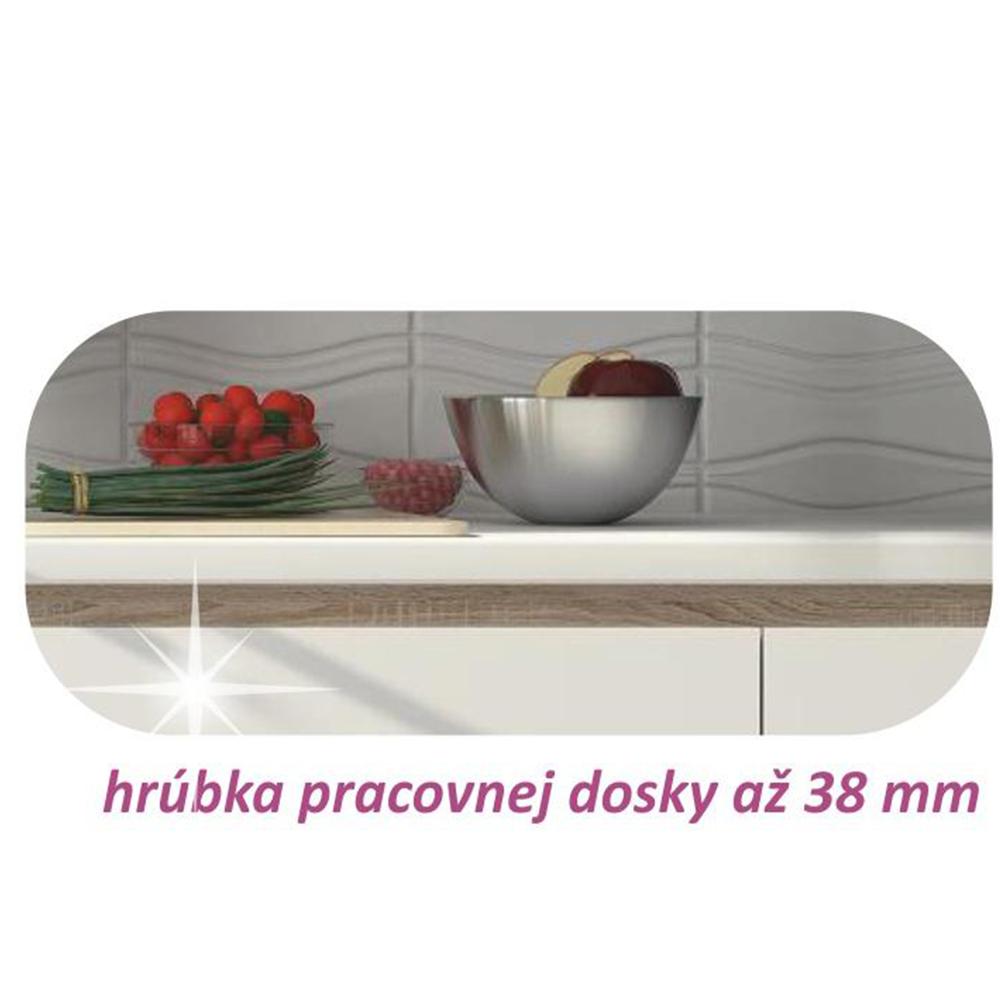 Dolní skříňka D 60, vysoký bílý lesk/dub sonoma, LINE, TEMPO KONDELA