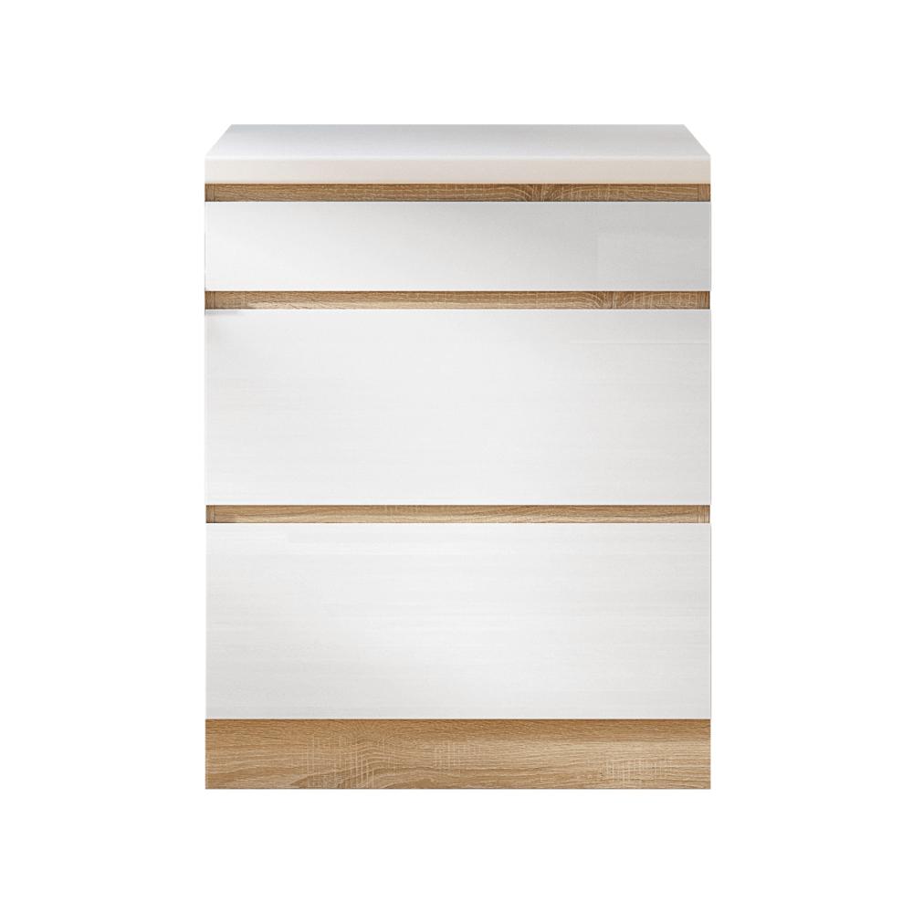 Dulap inferior cu 3 sertare D60, alb super luciu HG, LINE ALB
