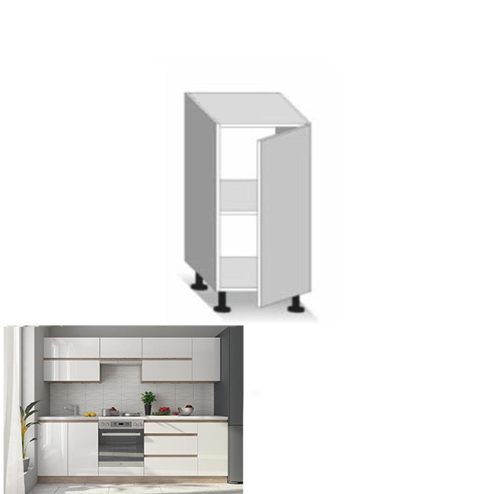 Dolní skříňka D 40, vysoký bílý lesk/dub sonoma, LINE, TEMPO KONDELA