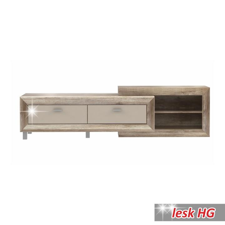 TV stolík/skrinka, dub anticky / béžová lesk HG, GATIK 131
