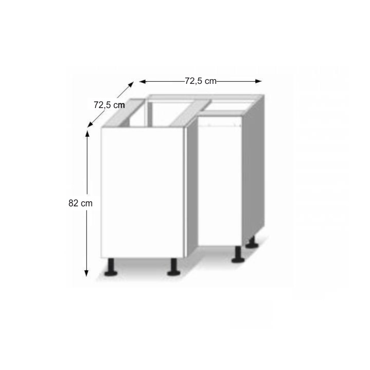 Dolní skříňka DR L, dub sonoma/bílá, LINE