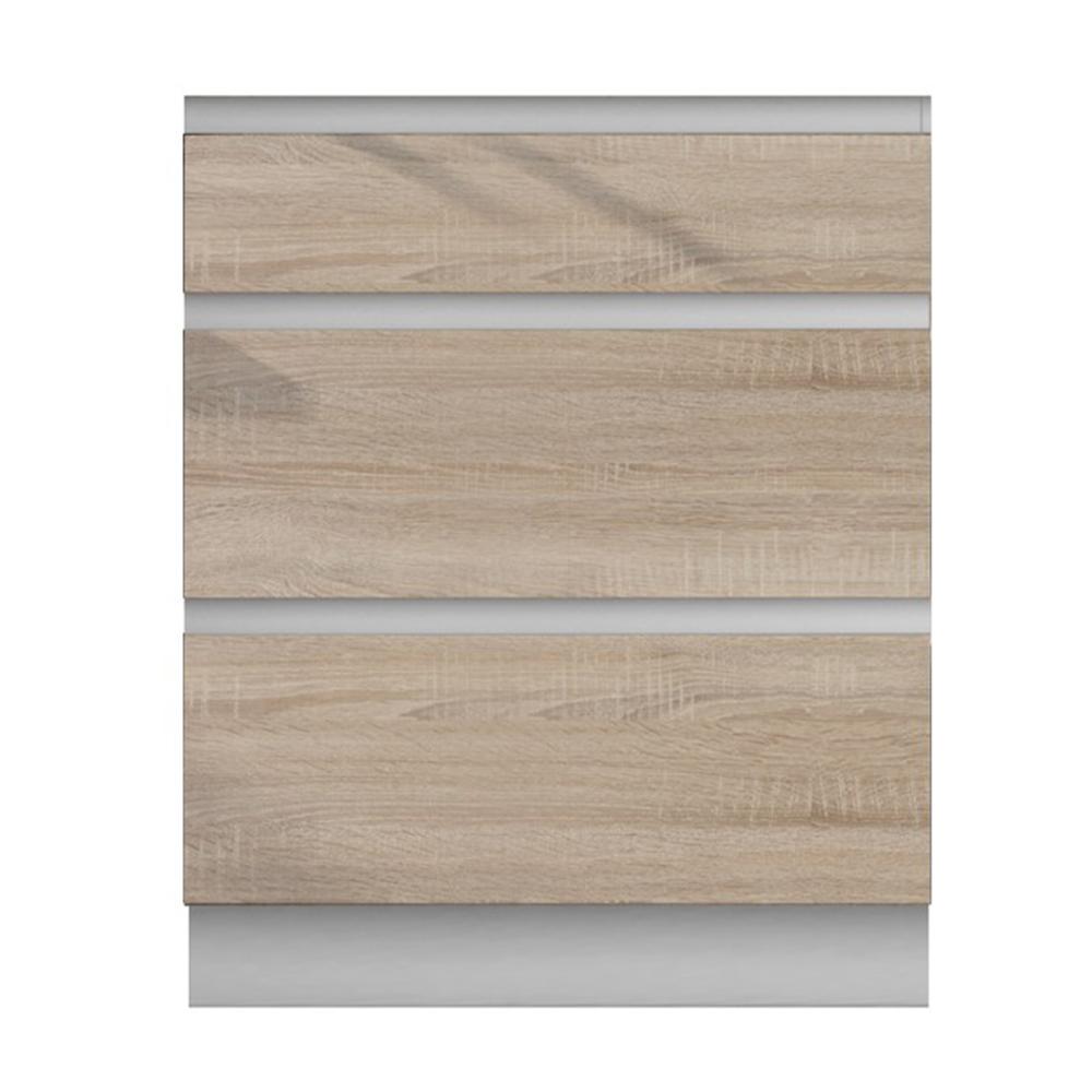 Dulap inferior cu 3 sertare, stejar sonoma/alb, LINE D60