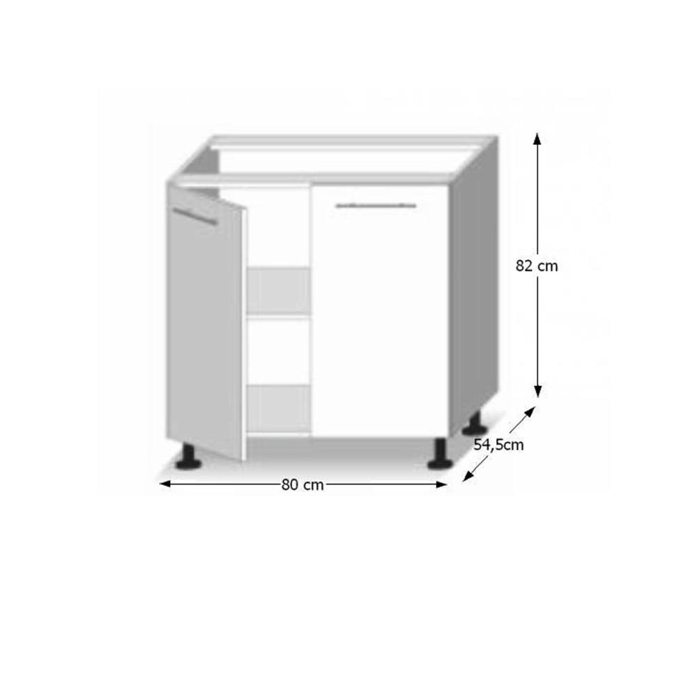 Dolní skříňka D 80, dub sonoma/bílá, LINE, TEMPO KONDELA