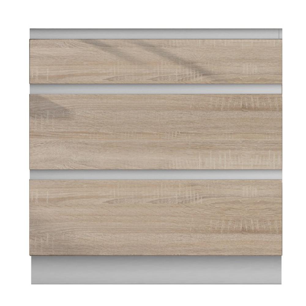 Dolná skrinka D 80 3, dub sonoma/biela, LINE