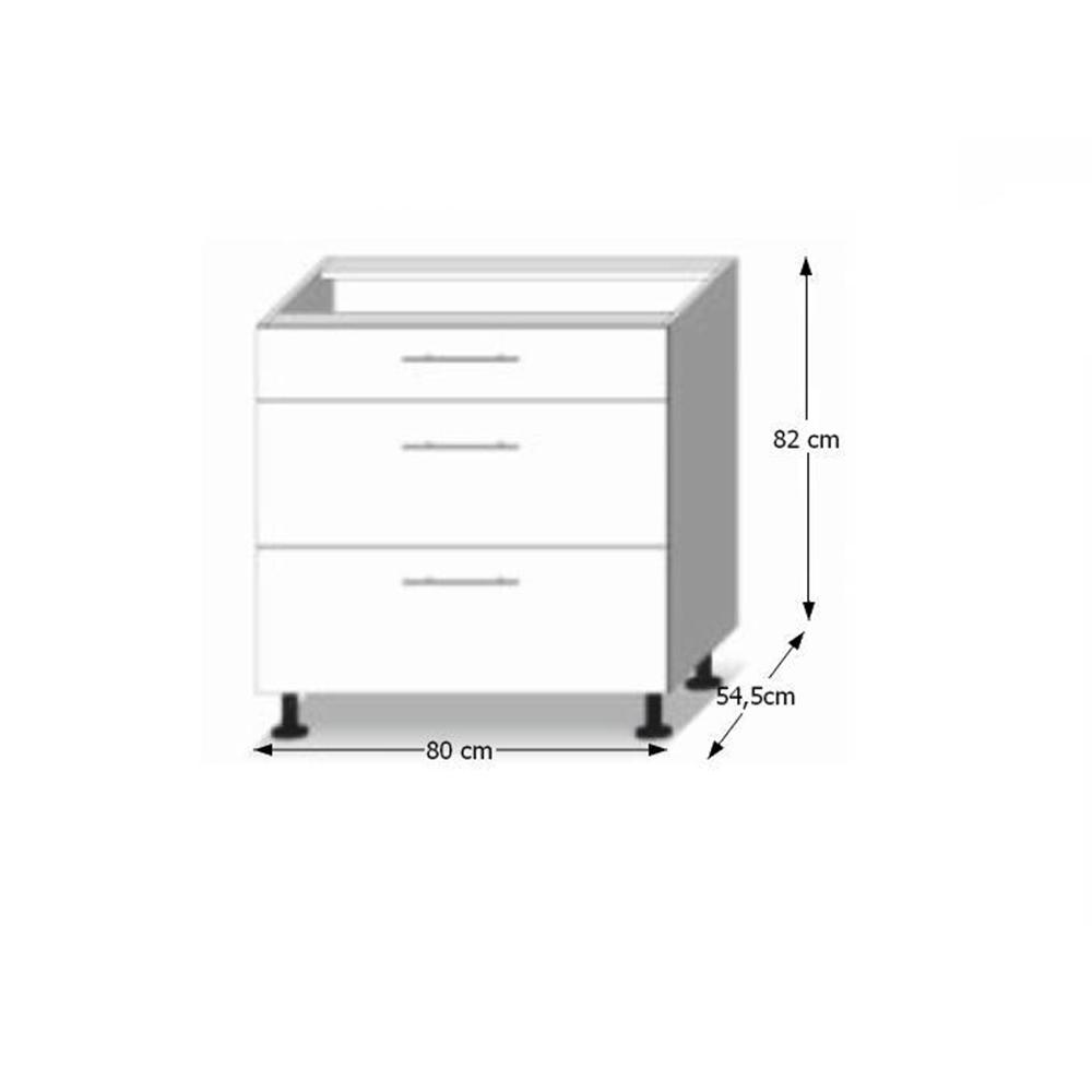 Dolní skříňka D 80 3, dub sonoma/bílá, LINE, TEMPO KONDELA
