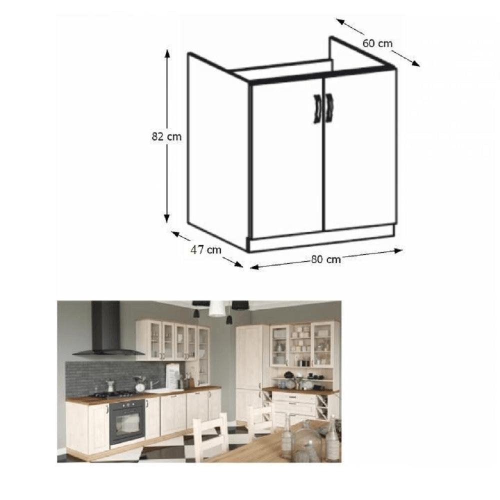 Spodní drezová skříňka, bílá/sosna skandinávská, ROYAL D80Z, TEMPO KONDELA