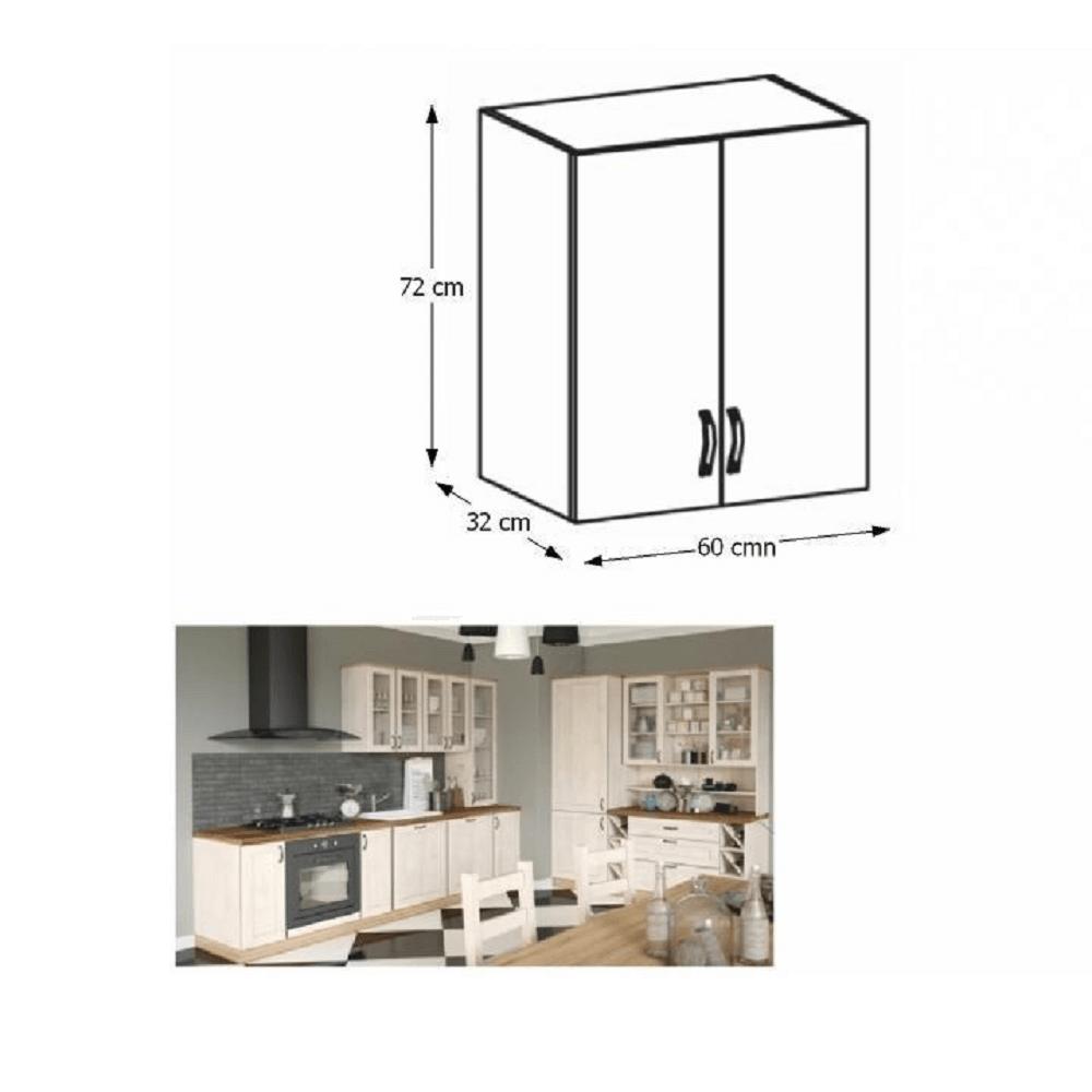 Felső szekrény, fehér/északi fenyő, ROYAL G60