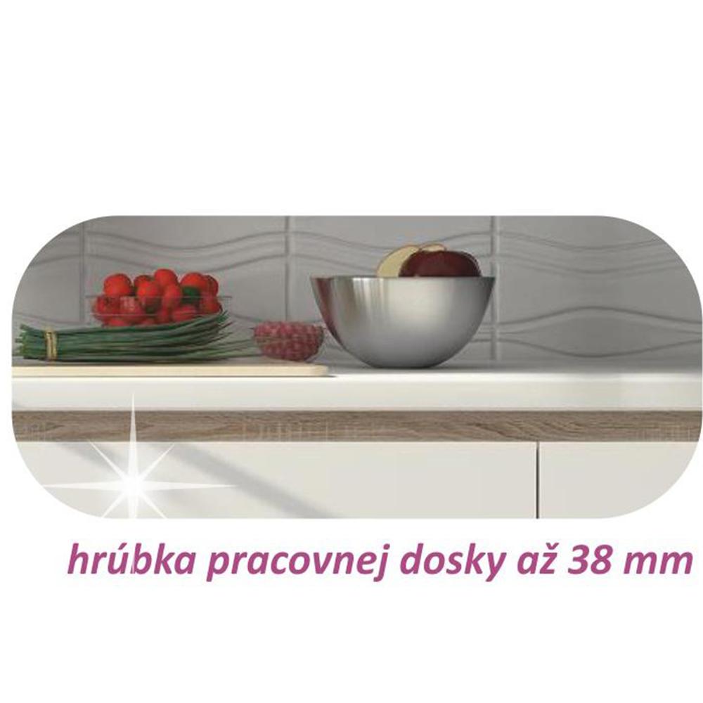 Kuchyňská sestava, bílá vysoký lesk HG / dub sonoma, LINE, TEMPO KONDELA
