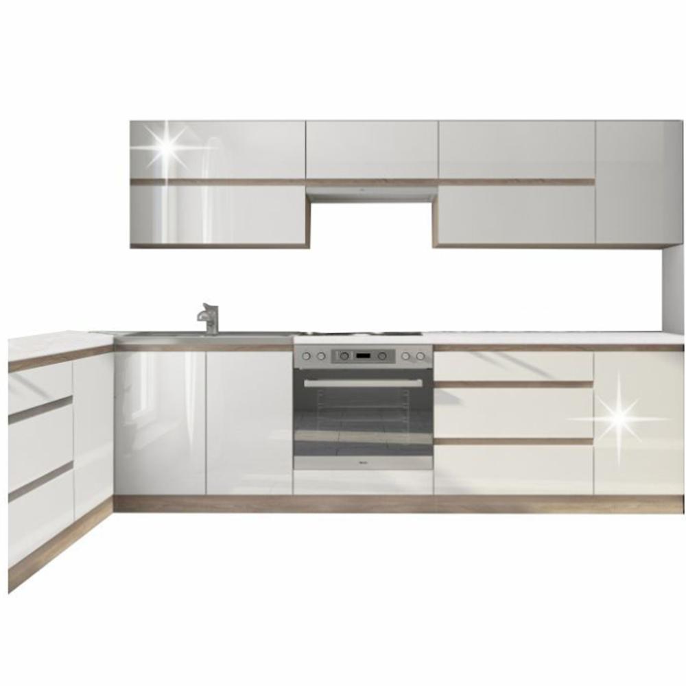 konyhabútor, fehér magasfényű HG/tölgy sonoma, LINE
