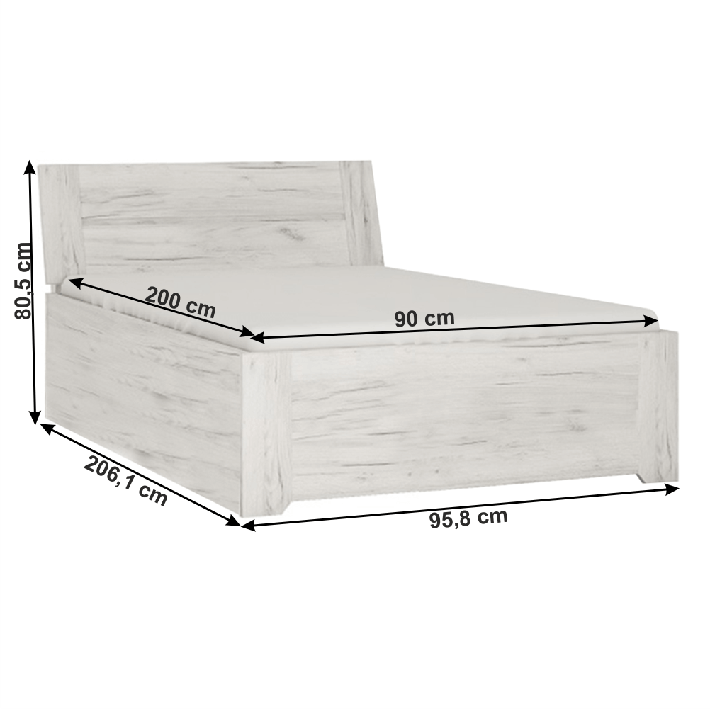 Postel typ 90, bílá craft, 90x200, ANGEL, TEMPO KONDELA