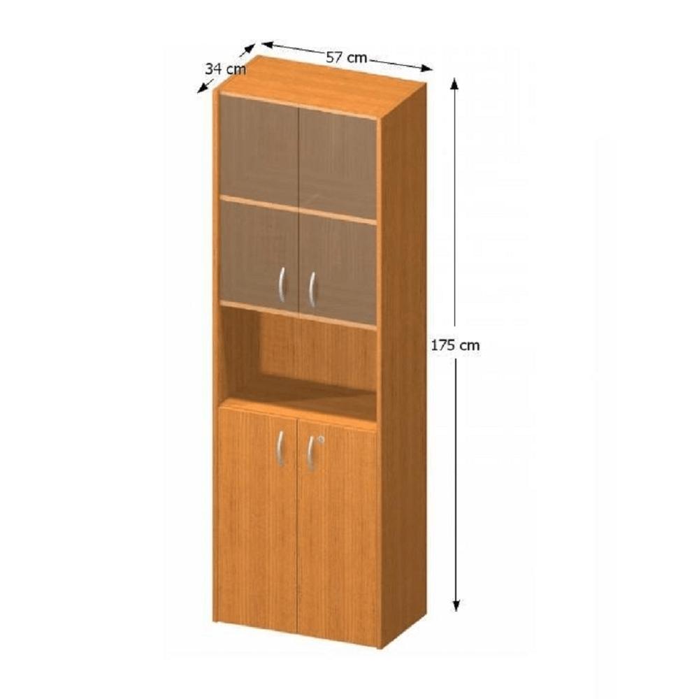 Policová skříňka s vitrínou, čerešňa, TEMPO ASISTENT NEW 004