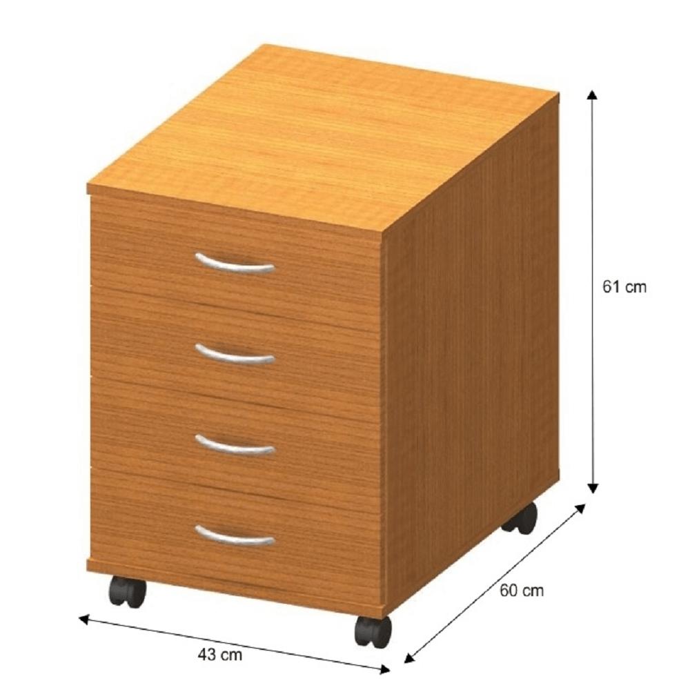 4 fiókos kerekes szekrény + zár, cseresznye, TEMPO ASISTENT NEW 015